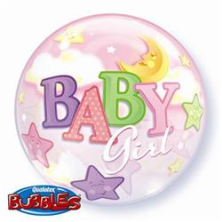 Baby Girl Moon & Stars Bubble 55cm
