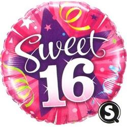Balloons Sweet 16 Shining Star Hot Pink 45cm