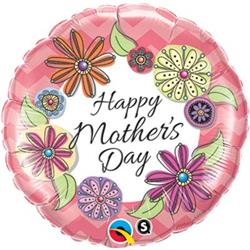 Qualatex Balloons Happy Mothers day Floral Chevron  pkgd 45cm