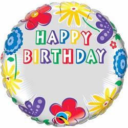 Qualatex Balloons Just Write Floral Birthday 45cm