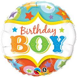 Qualatex Balloons Birthday Boy Circus Stars 45cm