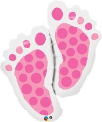 Baby Feet Pink Foil Helium shape 88cm