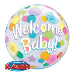 Welcome Baby Colourful Dots Bubble 55cm