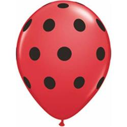Qualatex Balloons Big Polka Dots Red with Black Dots 12cm