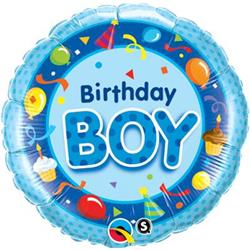 Qualatex Balloons Birthday Boy Blue 45cm