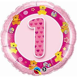 Qualatex Balloons Age 1 Pink Teddies 45cm