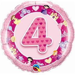 Qualatex Balloons Age 4 Pink Princess 45cm