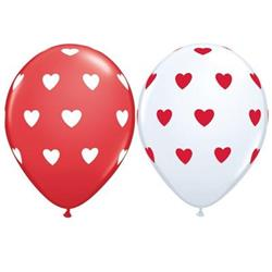 Qualatex Balloons Big Hearts asst red and white 40cm