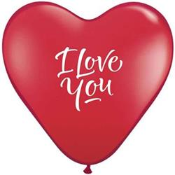 Love You Script Modern Ruby Red Heart 38cm