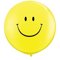 Qualatex Balloons Smile Face Yellow Latex 90cm - 36""