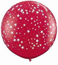 "Qualatex Balloons Stars A-round Ruby Red 90cm - 36"" (dup)"