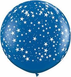 Qualatex Balloons Stars Around Sapphire Blue 90cm.