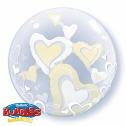White and Ivory Floating Hearts Double Bubble