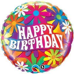 Qualatex Balloons Birthday Psychedelic Daisies 45cm