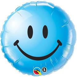 Qualatex Balloons Smiley Face Blue 45cm
