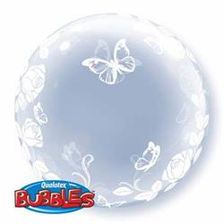 Deco Bubble Elegant Roses and Butterflies 60cm