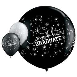Qualatex Balloons Congratulationr Graduate Wrap Onyx Black 90cm - 36""