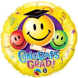 Qualatex Balloons Congrats Grad Smiley Faces 45cm
