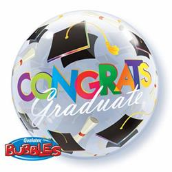 Congrats Graduation Caps Bubble