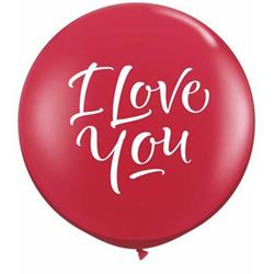 Qualatex Balloons Love You Script Modern Ruby Red 90cm