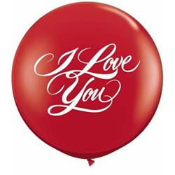 Qualatex Balloons I Love You Script Ruby Red 90cm
