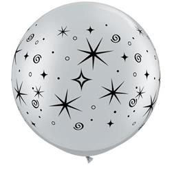 Qualatex Balloons Sparkles and Swirls 76cm Silver