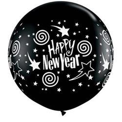 New Year Swirling Stars 90cm Onyx Black