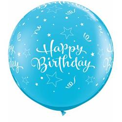 Qualatex Balloons Birthday Shining Stars Around Robins Egg 90cm