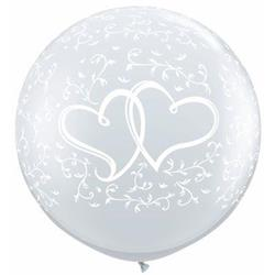Qualatex Balloons Entwined Hearts Around Diamond Clear 90cm