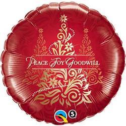 Qualatex Balloons Peace Joy Goodwill Damask Tree 45cm