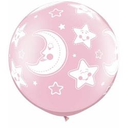Qualatex Balloons Baby Moon and Stars Pearl Pink 76cm
