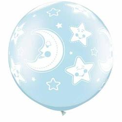 Qualatex Balloons Baby Moon and Stars Pearl Light Blue 76cm