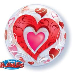 Bubble Red Hearts and Filigree 55.5cm