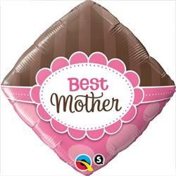 Qualatex Balloons Best Mother Pink and Browns 45cm Foil unpackaged