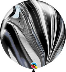 Qualatex Balloons Black and White Super Agate 76cm