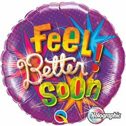 Qualatex Balloons Feel Better Soon Stars Burst Holographic 45cm