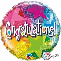 Qualatex Balloons Congratulation Star Patterns Holographic 45cm