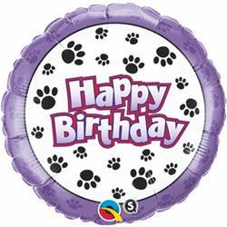 Qualatex Balloons Birthday Paw Prints 45cm