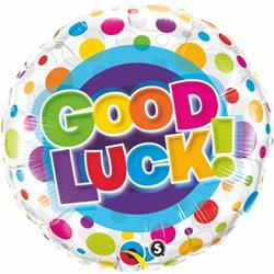 Qualatex Balloons Good Luck Colourful Dots 45cm