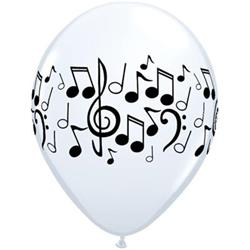 Qualatex Balloons Music Notes White 28cm.