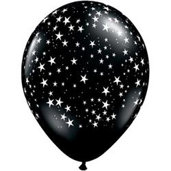 Qualatex Balloons Stars Arnd Black & White 28cm   25 count