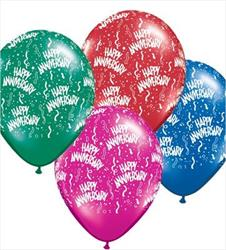 Qualatex Balloons Anniversary Around Jewel Tone Assorted 28cm