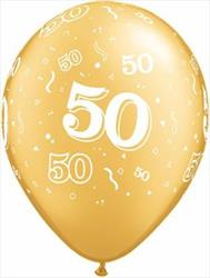 Qualatex Balloons 50 Around Gold 28cm