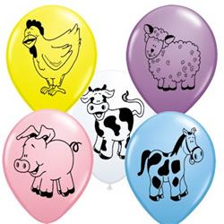 Qualatex Balloons Farm Animal Assort 28cm