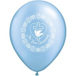 Qualatex Balloons For Youre Christening Dove Pearl Azure 28cm