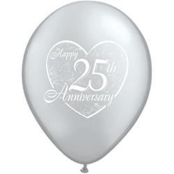 Qualatex Balloons 25th Anniversary Heart 28cm