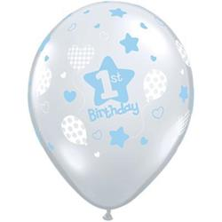 Qualatex Balloons 1st Birthday Soft Pattern Boy 28cm   25 count