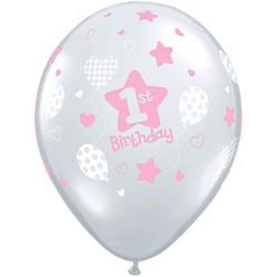 Qualatex Balloons 1st Birthday Soft Patterns Girl 28cm