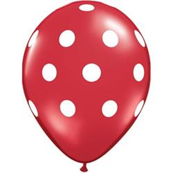 Qualatex Balloons Big Polka Dots Red with White Print 28cm 25 count