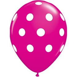 Qualatex Balloons Big Polka Dots Wild Berry  28cm